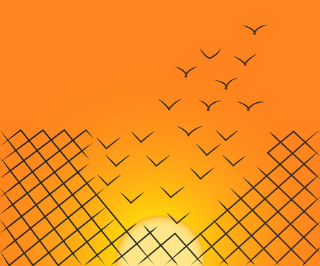 Vector illustration of a wire mesh fence transforming into birds flying away over the sunset sky. Freedom, courage and success concept. Illustration