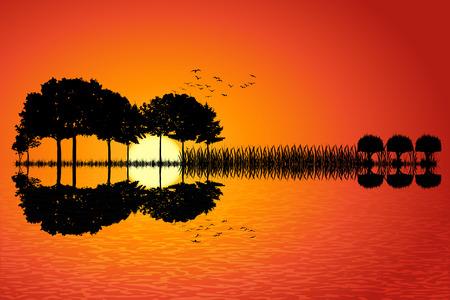 夕日を背景にギターの形に配置された木々。ギターの反射水で音楽島。ベクトル イラスト デザイン。
