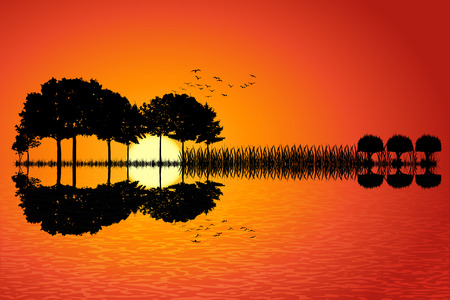 Trees arranged in a shape of a guitar on a sunset background. Music island with a guitar reflection in water. Vector illustration design. Imagens - 72901084