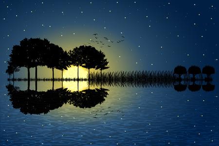 Árboles dispuestos en forma de una guitarra en un fondo de cielo estrellado en una noche de luna llena. isla de la música con una guitarra en el agua reflexión. diseño ilustración del vector.