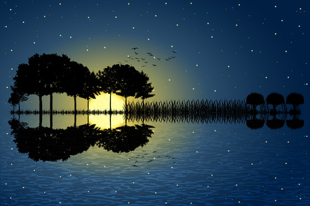 Trees arranged in a shape of a guitar on a starry sky background in a full moon night. Music island with a guitar reflection in water. Vector illustration design.