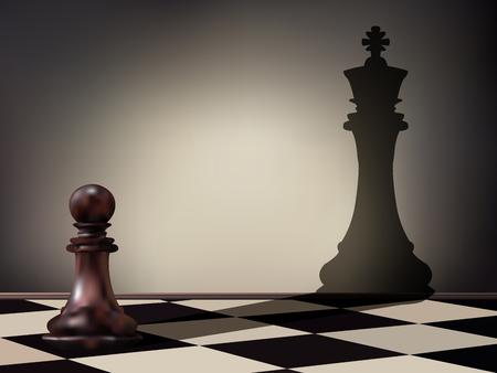 Illustration vectorielle comme une pièce d'échecs de pion jetant une ombre figure de roi sur le mur. Aspirations commerciales et concept de leadership. Transformation magique.