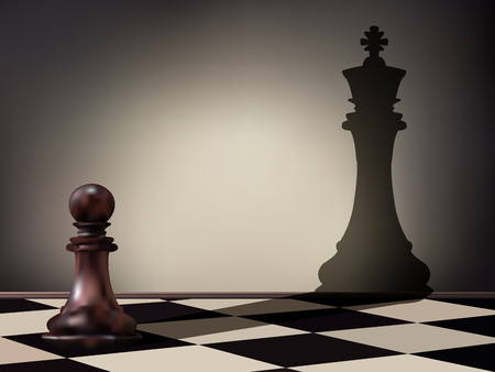 Vector illustration as a pawn chess piece casting a king figure shadow on the wall. Business aspirations and leadership concept. Magical transformation.