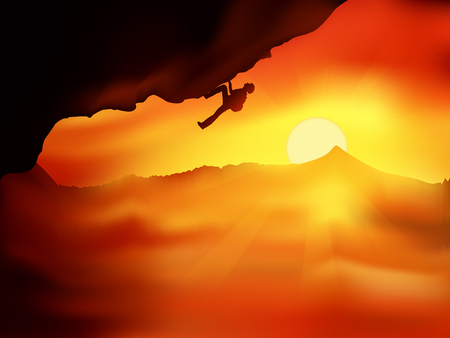 Silhouette of climber without insurance going up on a cliff against beautiful orange sunset above the clouds. Vector illustration, concept of motion motivation inspiration Illustration