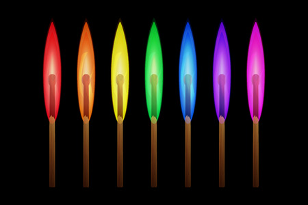 Matches burning in the flames of the rainbow colors on black background. Vector illustration, business individuality concept, different thinking symbol. Illustration