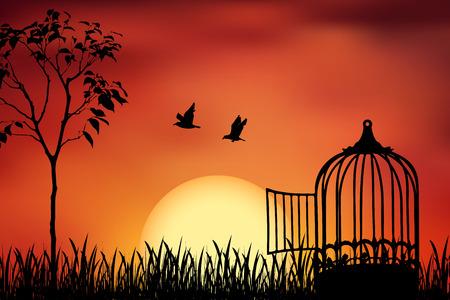 Aves pareja escapar de una jaula, liberado a la naturaleza. Ilustración hermosa y positiva del vector en un fondo anaranjado de la puesta del sol. Concepto de libertad y unión.
