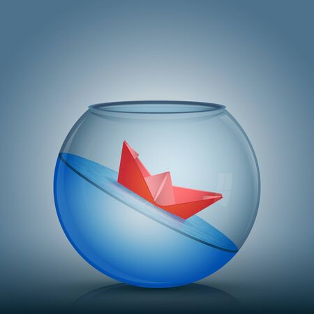 Abstract idea as a red paper origami boat float in a glass bowl with water. Surrounded by the fish tank limitation, nowhere to go. Vector conceptual illustration.