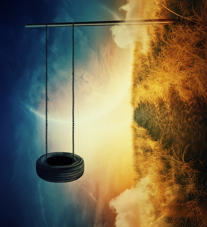 Suspended tire swing bound with a chain to a metallic pillar on a planet with different gravitation. Breaking the physical laws in the distant cosmos. Adventure and freedom on the space horizon.