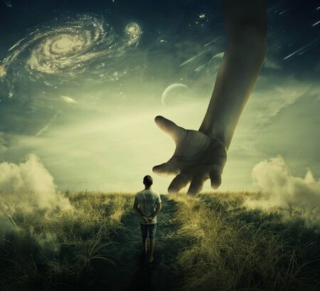 Wandering boy walks on a strange planet pathway, and a giant hand descend from the skies try to catch him. Prisoner capturation, manipulation concept and control as a marionette.