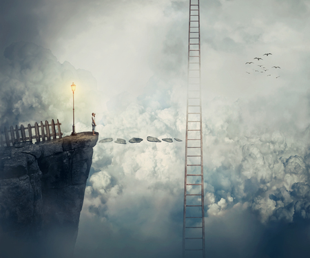 Imaginary view as a young boy stand on the peak of a cliff above clouds thinking how to reach a ladder going up to the sky. Life journey opportunity and risk concept. Way to success symbol.