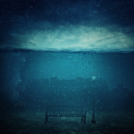 Underwater fantasy world. Modern city ruins under the sea and a wooden bench with a street lamp drowned. Adventure and journey concept of marine life. Night scene with starry sky.