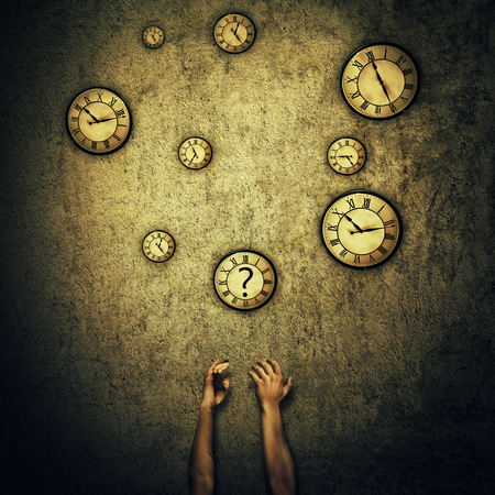 Abstract idea as human hands stretched out and juggling with a lot of clocks set to different times. Wealth and success symbol. Hour perception and time travel concept.
