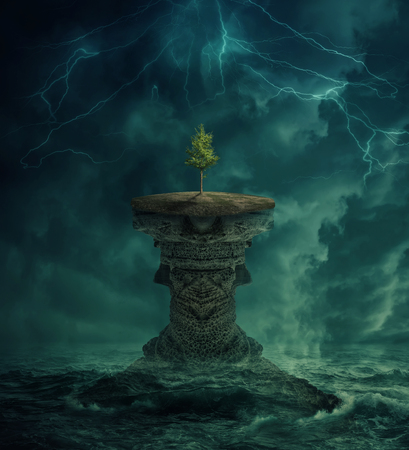 Green tree growing on a lost island in the middle of the ocean. Environmental ecology concept and climate change. Inspirational imaginary view, scary landscape below a dark stormy sky. Stock Photo