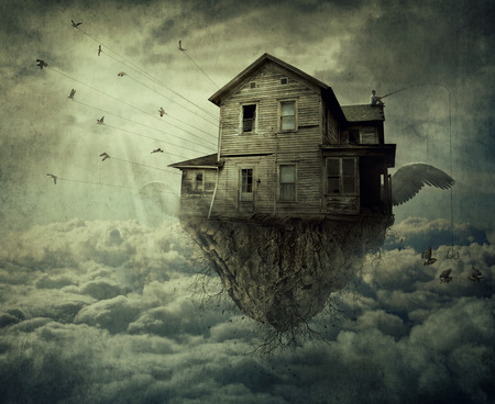Boy with a fishing rod standing on the roof of a flying house, ripped from the ground and a flock of birds carrying the house over the clouds. Adventure journey and discover concept.
