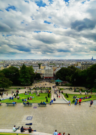 Aerial view of Paris, France from Sacre Coeur stairs Stock Photo