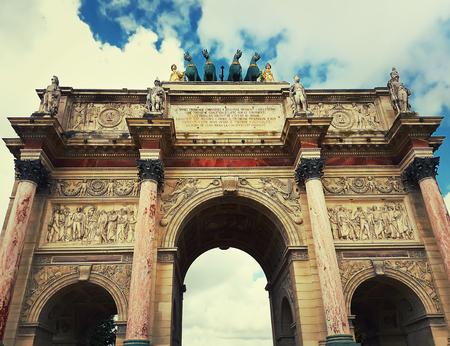 Close up view of the Triumphal Arch (Arc de Triomphe du Carrousel)   in Paris, France.