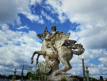 The statue of Mercury riding Pegasus, the entry to Tuileries garden, statue of Coysevox, Paris, France.