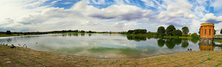 Panorama scene of sywell country park lake in Norhampton, England.