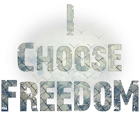 I choose freedom, inspirational text over wire mesh background, transforming into flying birds over the sky. Stock Photo