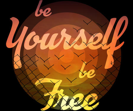 be yourself be free inspirational text isolated on a metallic wire mesh transforming into flying birds over sunset sky background. Stock Photo