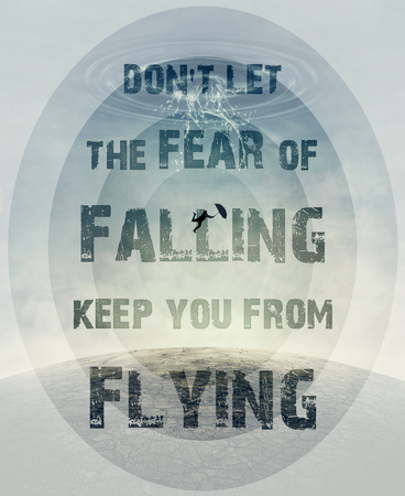 Inspirational text don't let the fear of falling keep you from flying and a silhouette of an young man with an umbrella falling from the sky as a splash of water crashing down to the cracked desert ground.
