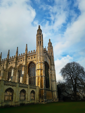 Facade of Kings college chapel in a autumn day. University of Cambridge, United Kingdom.