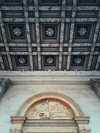 Beautiful ceiling above the entrance of the Fitzwilliam Museum, Cambridge, United Kingdom.
