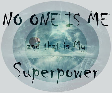 Inspirational words, no one is me and that is my superpower, isolated on dark scary landscape as a hot air balloon fly over the chasm of a foggy waterfall below a stormy sky. Zdjęcie Seryjne