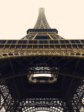 Portrait view of the Eiffel Tower in Paris, France.