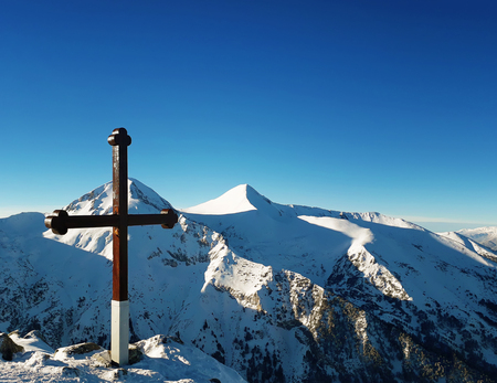 Cross on the top of Pirin mountains. Todorka peak national resort in Bansko, Bulgaria. Zdjęcie Seryjne - 119620139