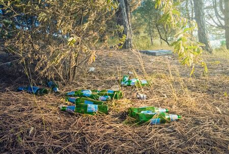 Irresponsible people leaving empty dirty beer bottles and a lot of garbage in the park after feast. Environmental pollution, ecological problem. Bad habit, left trash, glass and plastic in the forest. Stockfoto