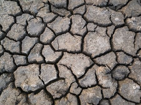 Dry and broken clay ground during drought season, concept of global warming problem. Cracked and barren soil texture background. The global shortage of water on the planet. Arid land, natural disaster