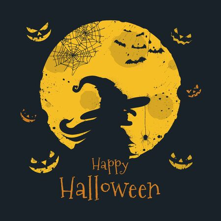 Happy Halloween trick or treat. Witch silhouette over full moon, jack olantern, bats and spider web symbols. Traditional 31 october holiday, calligraphy and colors in minimalistic flat design.