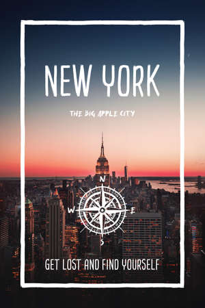 NYC, New York, United States, the big apple city. Trendy travel design, inspirational text art, cityscape sunset skyline background. Touristic adventure concept, compass symbol and trip typography.