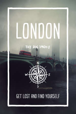 London, UK, the big smoke city. Trendy travel design, inspirational text art, foggy cityscape background with the bridge in mist. Touristic adventure concept, compass symbol and trip typography. Foto de archivo