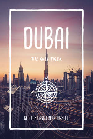 Dubai, United Arab Emirates, the gulf tiger city. Trendy travel design, inspirational text art, cityscape skyscrapers over sunset sky. Tourist adventure concept, compass symbol and trip typography. Foto de archivo
