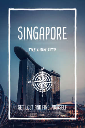Singapore, the lion city. Trendy travel design, inspirational text art, cityscape Marina bay building landmark. Tourist adventure concept, compass symbol and trip typography. Get lost & find yourself.