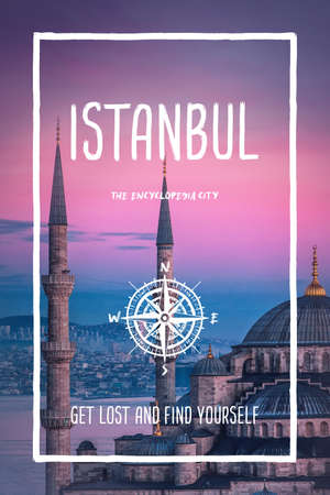 Istanbul, Turkey, the encyclopedia city. Trendy travel design, inspirational text art, blue mosque and cityscape over sunset background. Tourist adventure concept, compass symbol and trip typography. Foto de archivo