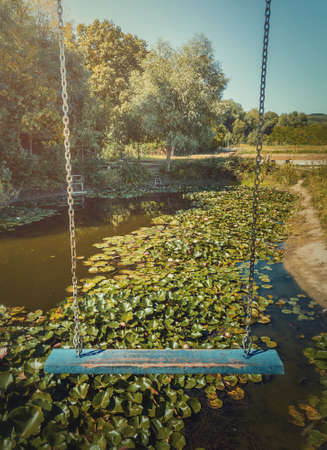 Vertical photo of a vintage blue swing hanging over a pond with blooming waterlily, lotus flowers. Vacation travel, natural background at the lake recreation concept, at Bardar village, Moldova.