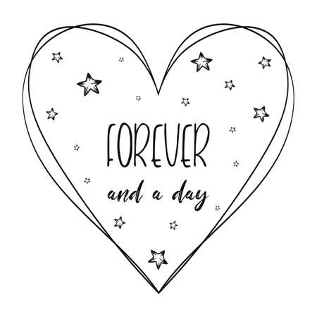 Romantic quote, love you forever and a day, minimalistic text art illustration with the heart symbol, stars decorations and lettering composition. Conceptual romantic typography for Valentine's day. Zdjęcie Seryjne