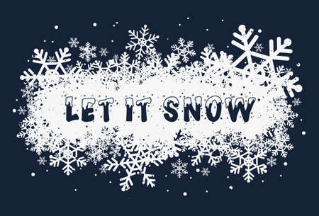 Let it snow, seasonal text art illustration. Winter snowy cap lettering font design. White snowflakes as Christmas holiday symbol. New year atmosphere greeting card, conceptual typography background.