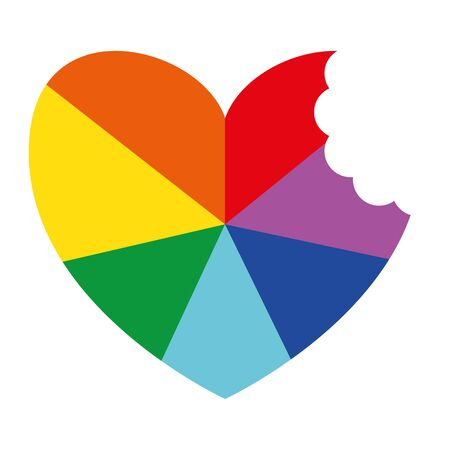Rainbow Ray Heart With Bite Flat Vector Icon for Printing Anticlockwise C