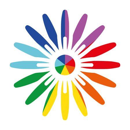 Rainbow Ray Flower Daisy Flat Vector Icon for Printing Clockwise C, D, E, F, G, A, B