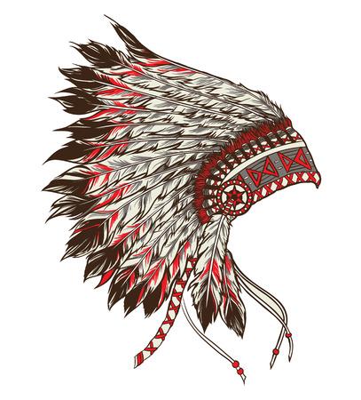 indian chief headdress: Americano copricapo capo indiano nativo. Illustrazione vettoriale