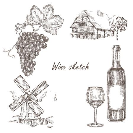 casa vecchia: Bottiglia di vino, mulino a vento, vecchio set casa in stile schizzo. Vettore