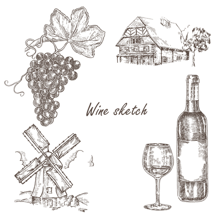 sketch: Wine bottle, windmill, old house set in sketch style. Vector
