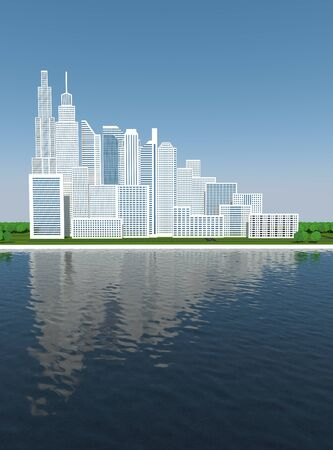 town skyline with water reflection