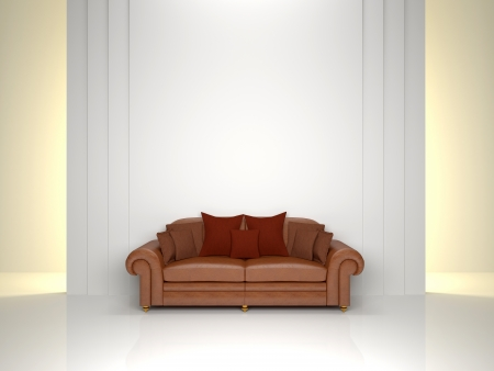 interior, leather sofa against a white wall