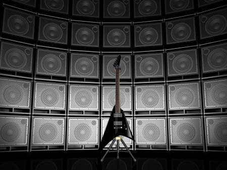 エレク トリック ギター、アンプの背景に 写真素材