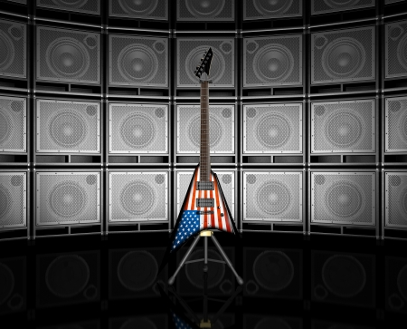 American flag electric guitar photo